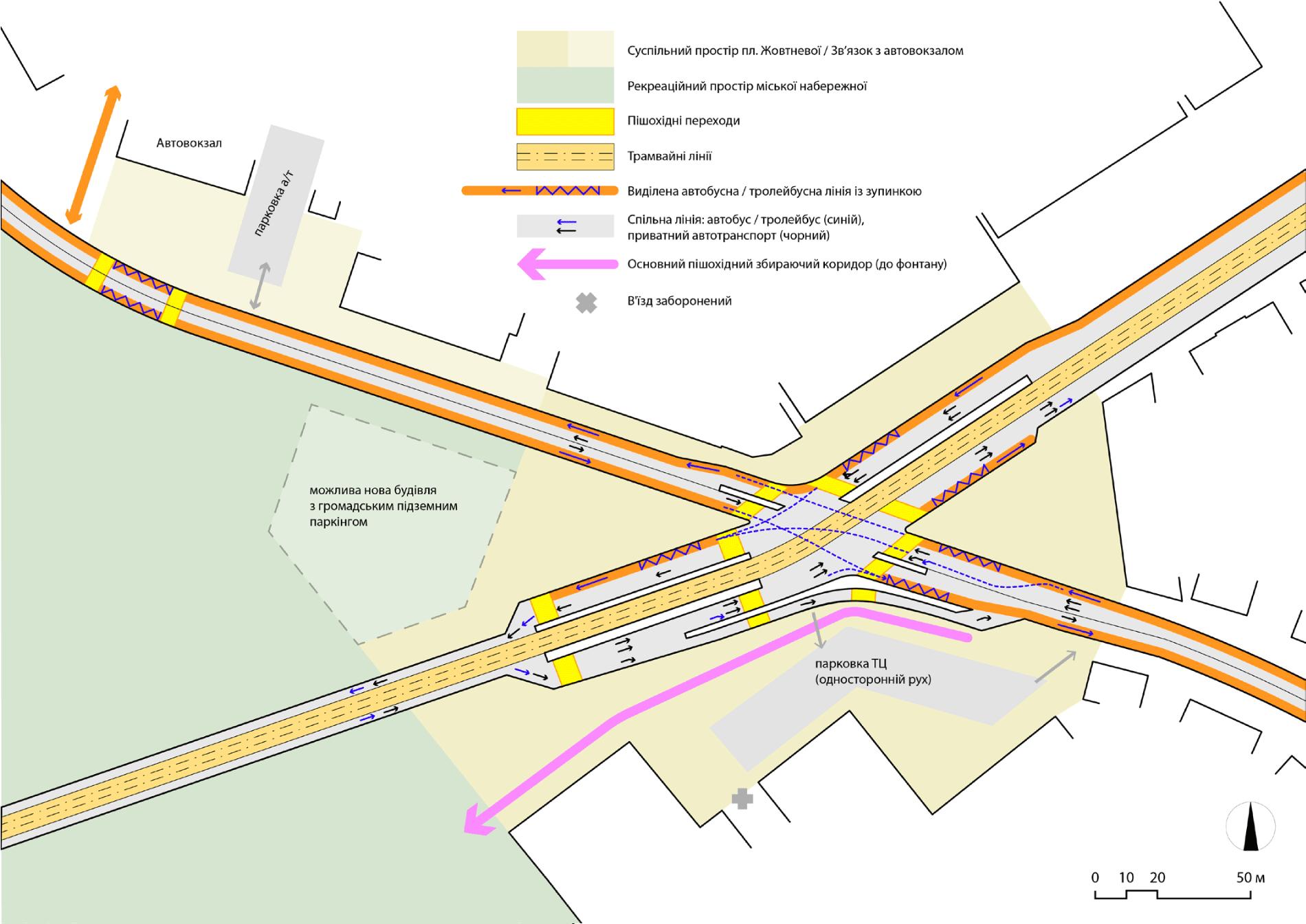 Варіант організації трамвайних зупинок